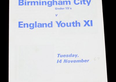 Birmingham City under 19's v England Youth XI 14.11.1967