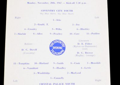 Coventry City v Crystal Palace 20.11.1967 | Southern Junior Floodlit Cup
