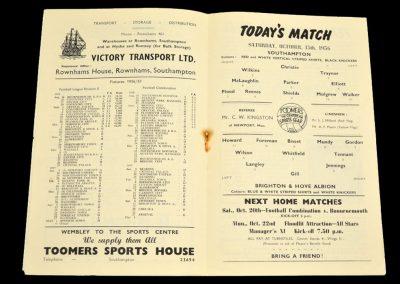 Brighton and Hove Albion v Southampton 13.10.1956