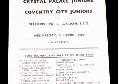 Crystal Palace Juniors v Coventry City Juniors 03.04.1968 | FA Youth Cup Semi Final