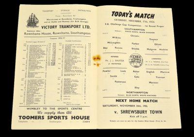 Northampton Town v Southampton 17.11.1956