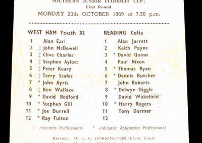 West Ham United v Reading 20.10.1969