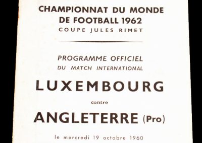 Luxembourg v England 19.10.1960