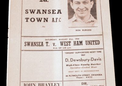Swansea Town v West Ham United 21.08.1954