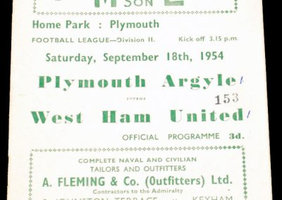 Plymouth Argyle v West Ham United 18.09.1954