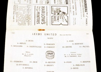 Leeds United v West Ham United 16.10.1954