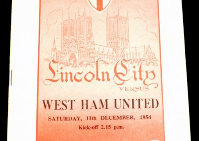 Lincoln City v West Ham United 11.12.1954