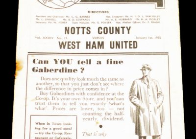 Notts County v West Ham United 01.01.1955