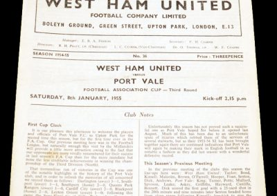 West Ham United v Port Vale 08.01.1955
