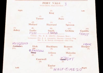Port Vale v West Ham United 10.01.1955