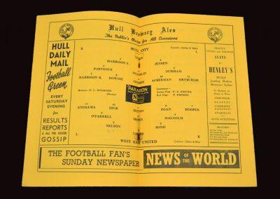 Hull City v West Ham United 13.09.1954