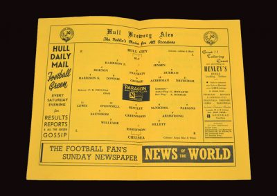 Hull City v Chelsea 11.10.1954 | Friendly