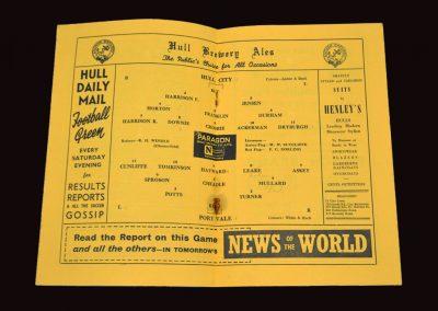Hull City v Port Vale 16.10.1954