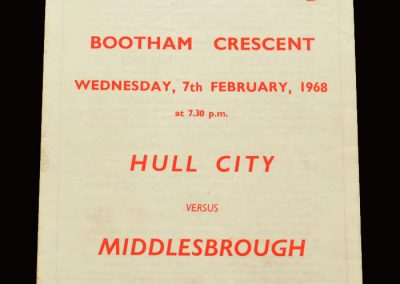 Middlesbrough v Hull 07.02.1968 - FA Cup 3rd 2nd Replay