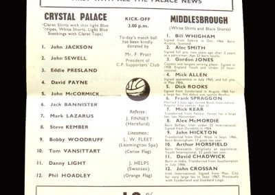 Middlesbrough v Crystal Palace 04.05.1968