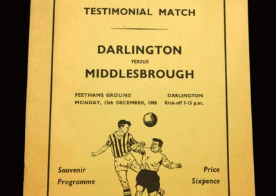 Darlington v Middlesbrough 13.12.1965 - Ron Greener Testimonial Match