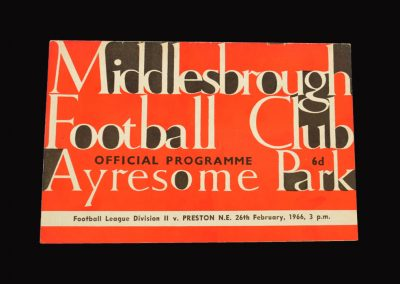 Middlesbrough v Preston 26.02.1966