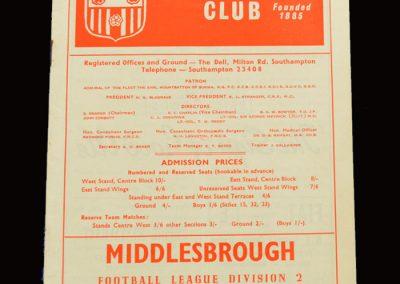 Middlesbrough v Southampton 02.04.1966
