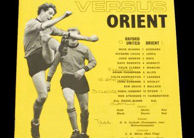 Leyton Orient v Oxford 10.03.1971