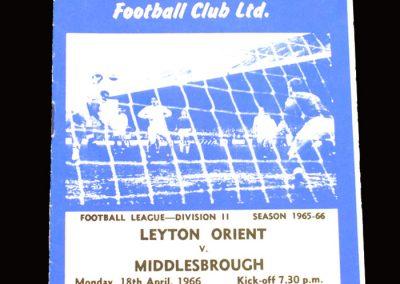 Middlesbrough v Leyton Orient 18.04.1966