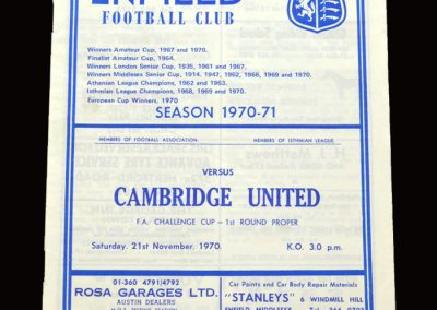 Cambridge v Enfield 21.11.1970 - FA Cup 1st Round