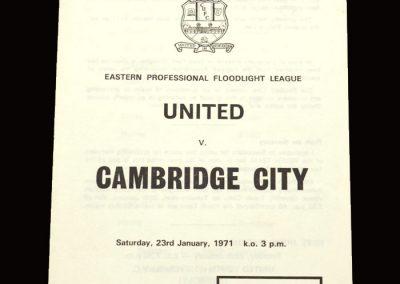 Cambridge United v Cambridge City 23.01.1971 (floodlight league)