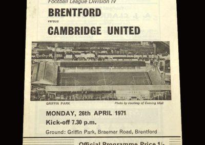Cambridge v Brentford 26.04.1971
