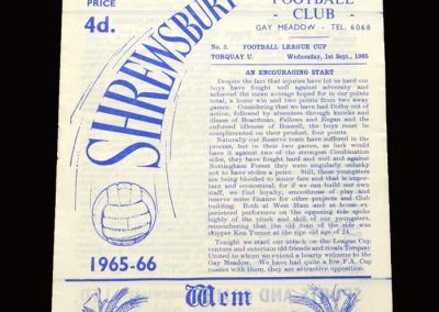 Shrewsbury v Torquay 01.09.1965 - League Cup 1st Round