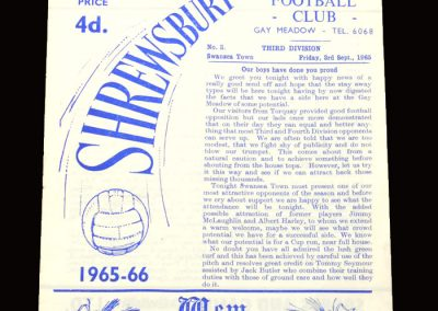 Shrewsbury v Swansea Town 03.09.1965