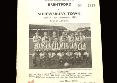 Shrewsbury v Brentford 14.09.1965