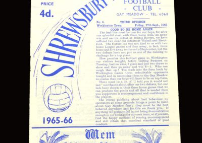 Shrewsbury v Workington 17.09.1965
