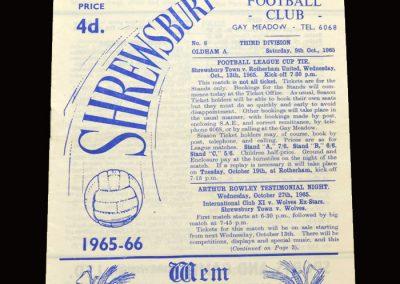 Shrewsbury v Oldham 09.10.1965