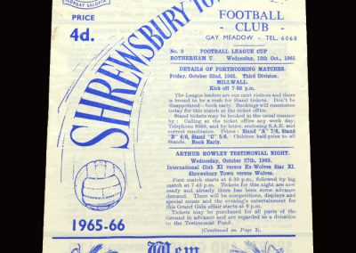 Shrewsbury v Rotherham 13.10.1965 - League Cup 3rd Round