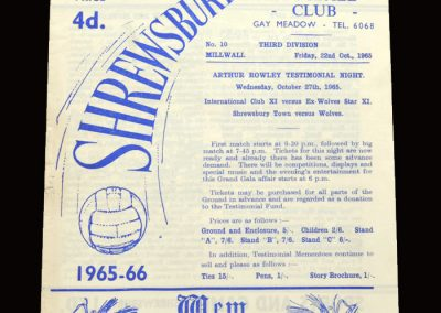Shrewsbury v Millwall 22.10.1965