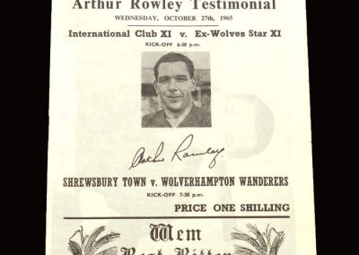 Internationals 11 v Ex-Wolves 11 27.10.1965 | Shrewsbury Town v Wolves 27.10.1965 - Arthur Rowley Testimonial