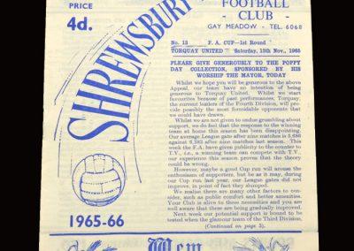 Shrewsbury v Torquay 13.11.1965 - FA Cup 1st Round