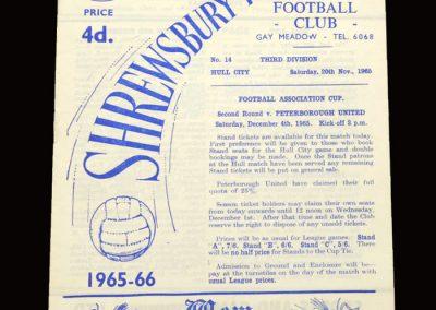 Shrewsybury v Hull 20.11.1965
