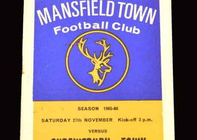 Shrewsbury v Mansfield 27.11.1965 (postponed)