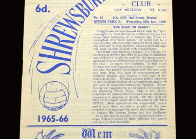 Shrewsbury v QPR 26.01.1966 - 3rd Round Replay