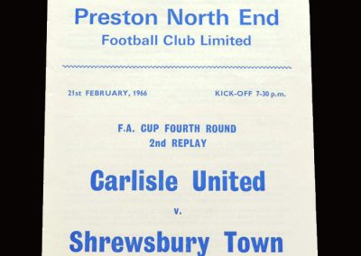 Shrewsbury v Carlisle 21.02.1966 - FA Cup 4th Round 2nd Replay