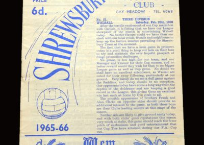 Shrewsbury v Walsall 26.02.1966 (postponed)