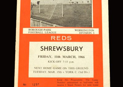 Shrewsbury v Workington 11.03.1966