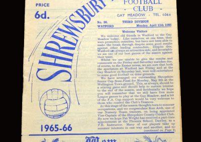 Shrewsbury v Watford 11.04.1966