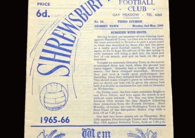 Shrewsbury v Grimsby 02.05.1966