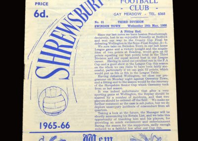 Shrewsbury v Swindon 18.05.1966