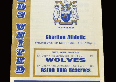Leeds v Charlton 03.09.1968 - League Cup 3rd Round