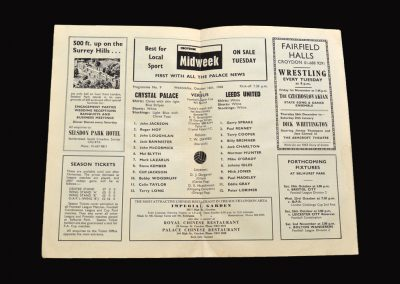 Leeds v Crystal Palace 16.10.1968 - League Cup 4th Round