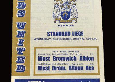 Leeds v Standard Liege 23.10.1968 - Fairs Cup 1st Round 2nd Leg