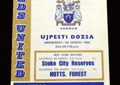 Leeds v Ujpesti Dozsa 05.03.1969 - Fairs Cup Fourth Round 1st Leg
