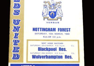 Leeds v Notts Forest 15.03.1969 (postponed)